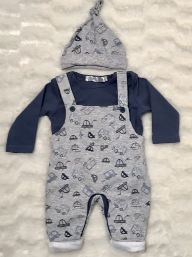 BABY DUNGAREES 3-PIECE OUTFIT