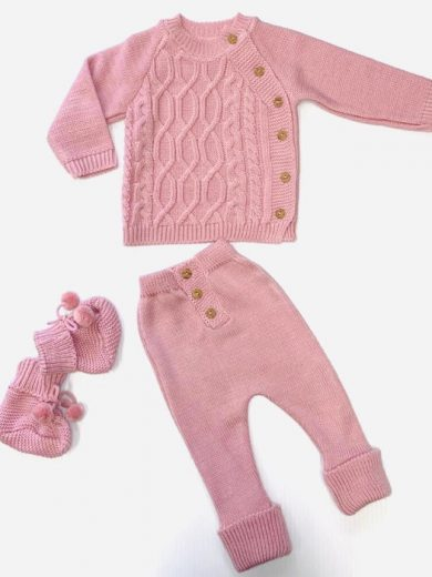 BABY KNIT 3-PIECE OUTFIT