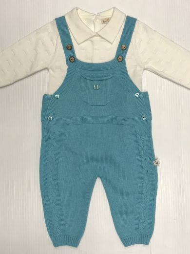 BABY KNIT COTTON DUNGAREE SUIT