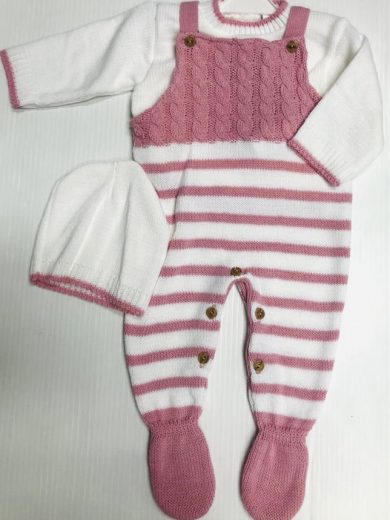 KNIT DUNGAREE AND HAT SET